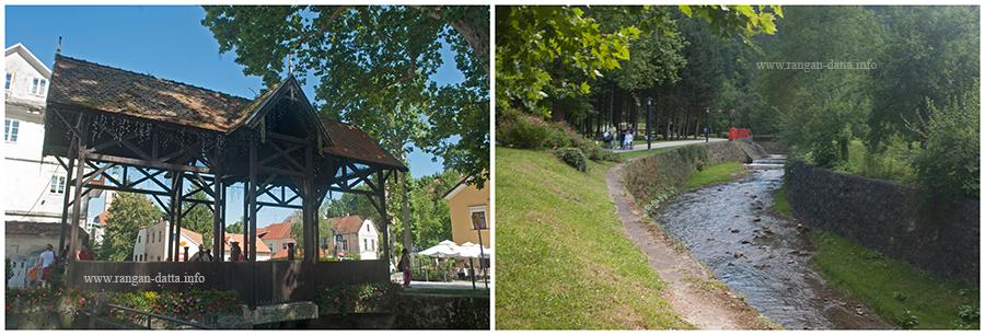 L: Covered bridge over Granda Stream, R: Granda Stream, Samobor, Croatia
