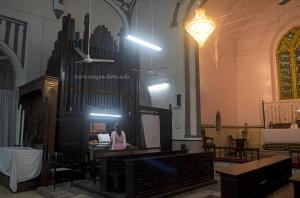 A lady plays the Pipe Organ, St. Stephen's Church, Kolkata