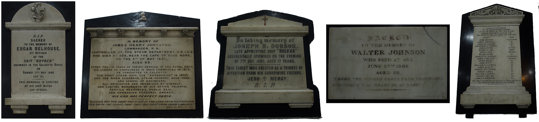 Memorial Plaques of seamen, St. Stephen's Church, Kidderpore, Kolkata (click to enlarge)