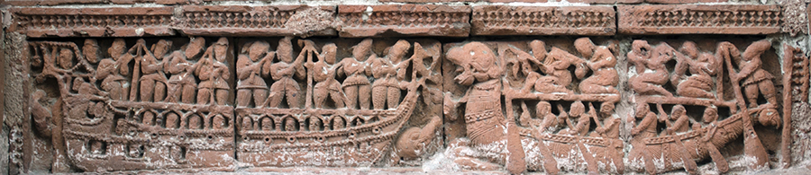 Terracotta panels of Ships, Hanseswari Temple, Bansberia, Hooghly