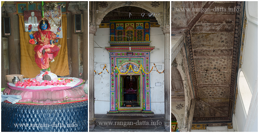 L: Idol od Devi Hanseswari, C: Colourfull entrance to the inner sanctum, R: Fresco work on the ceiling, Hanseswari Temple