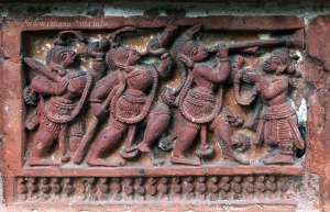 Band of musicians, terracotta panel,  Ananta Vasudev Temple, Bansberia