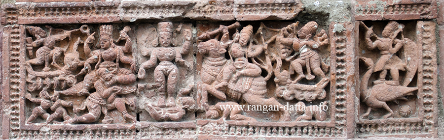 An intricate terracotta panel from Ananta Basudev Temple, Bansberia, Hooghly