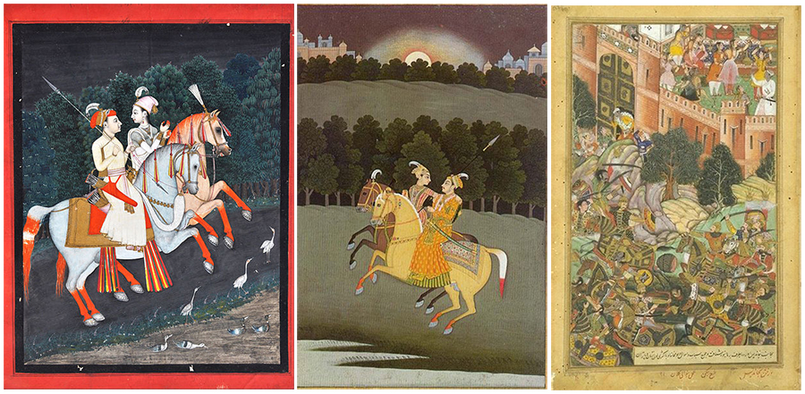 L: Baz Bahadur and Roopmati enjoying a horse ride, C: Both riding in the moonlight, R: Attack of Mandu by Akbar's army (Source: Wikinedia Commons)
