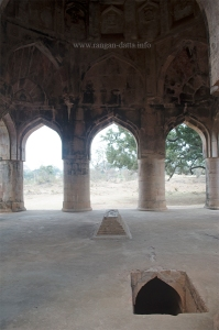 Hati Mahal, false grave and entrance to the crypt