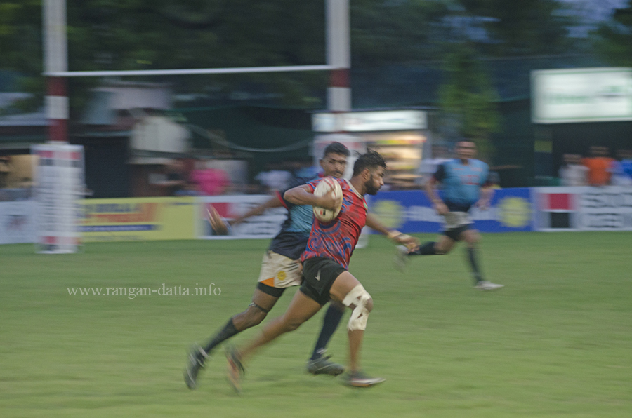 Action from the final of 83rd All India and South Asia Rugby Tournament 2016, CCFC, Kolkata