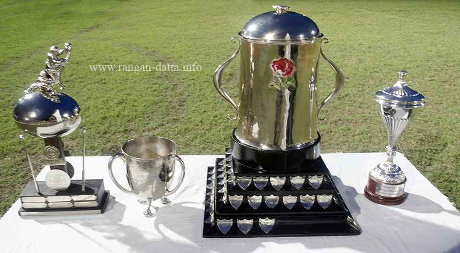 The Trophies (L to R): Fair Play Trophy, Looser Plate Trophy, Champions Trophy and Runners Trophy