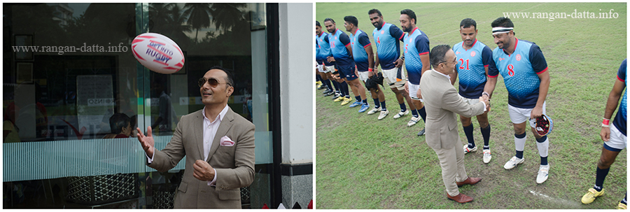L: Rahul Bose jugles with the rugby ball. R: Players being introduced before the start of the final