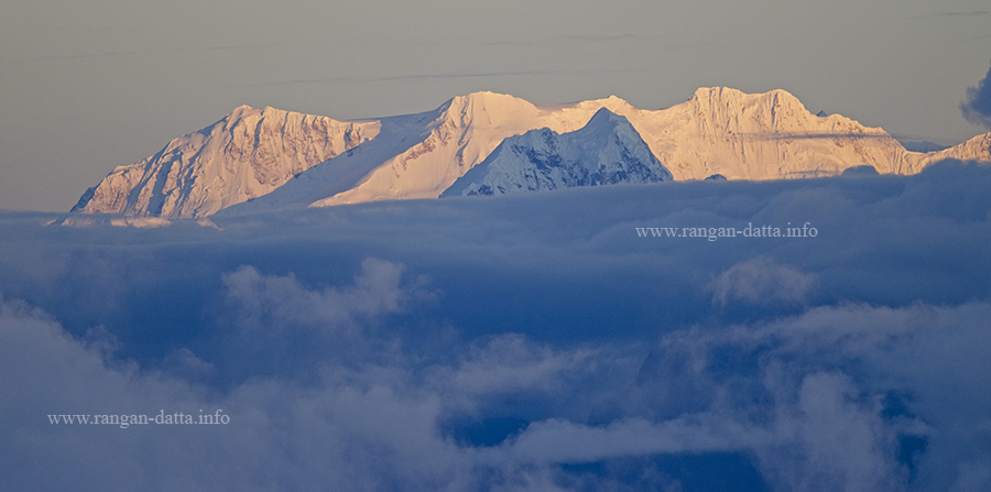 Sunrise on Mt. Kabru and Mt. Kumbhakarna (Janu), Mt. Kanchenjunga is not visible, from Lungthung, Silk Route, East Sikkim