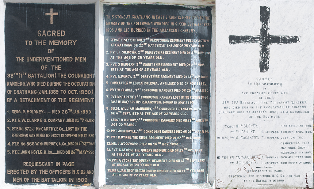 Plaques from the British War Memorial, Nathang (Gnathang), Sikkim Silk Route