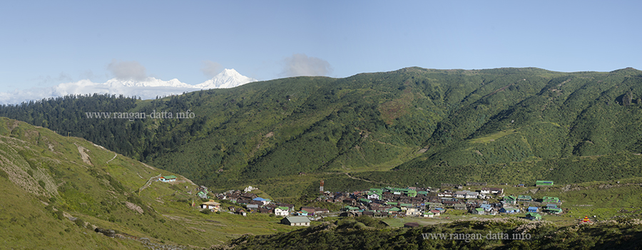 Nathang (Gnathang) valley and village, with Kanchenjunga, Sikkim Silk Route