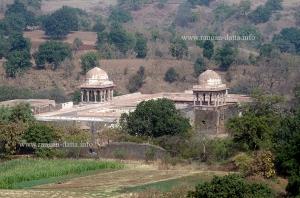 Baz Bahadur's Palace seen from Roopmati's Pavilion, Mandu