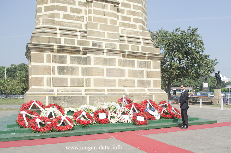 With the wreath laying process complete, French Council General Damien Syed pays his respect at the Glorious Dead Memorial, Kolkata on Remembrance Sunday
