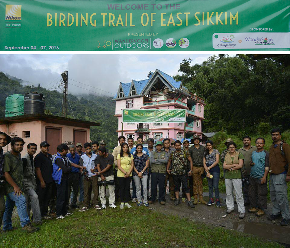 Group Photo, Birding Trail of East Sikkim, in front of Mangaldeep Resort & Hotel (Photo Courtesy: Dilip Raj Pradhan)