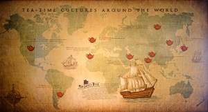 A world map at Margaret's deck, narrating tea stories from round the world