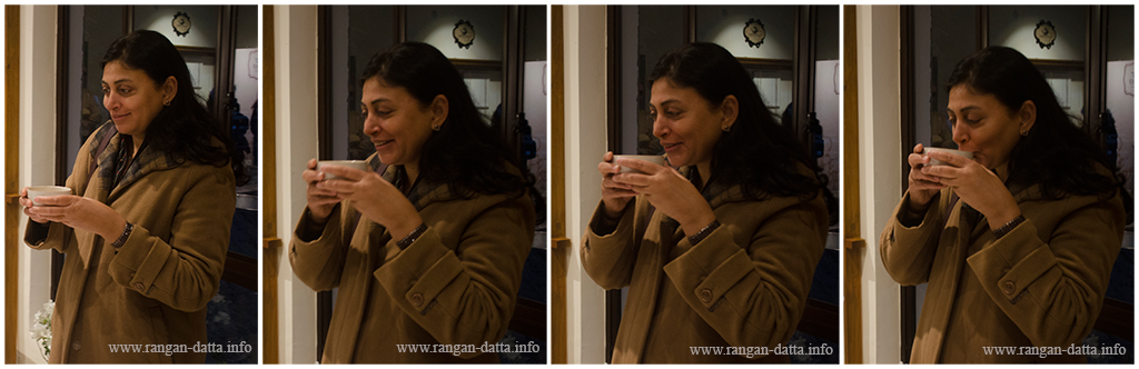 A FAM participant tries her hand on tea tasting, Margaret's Deck, Goodricke Teapot, Kurseong