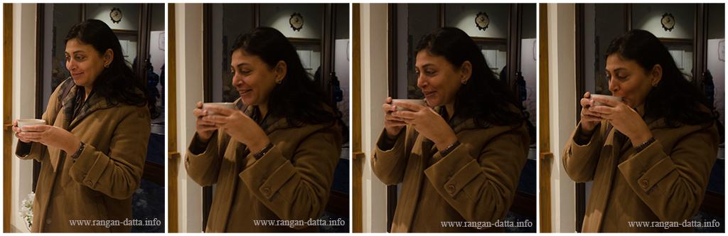 A FAM participant tries her hand on tea tasting, Margaret's Deck, Goodricke Teapot, Kurseong