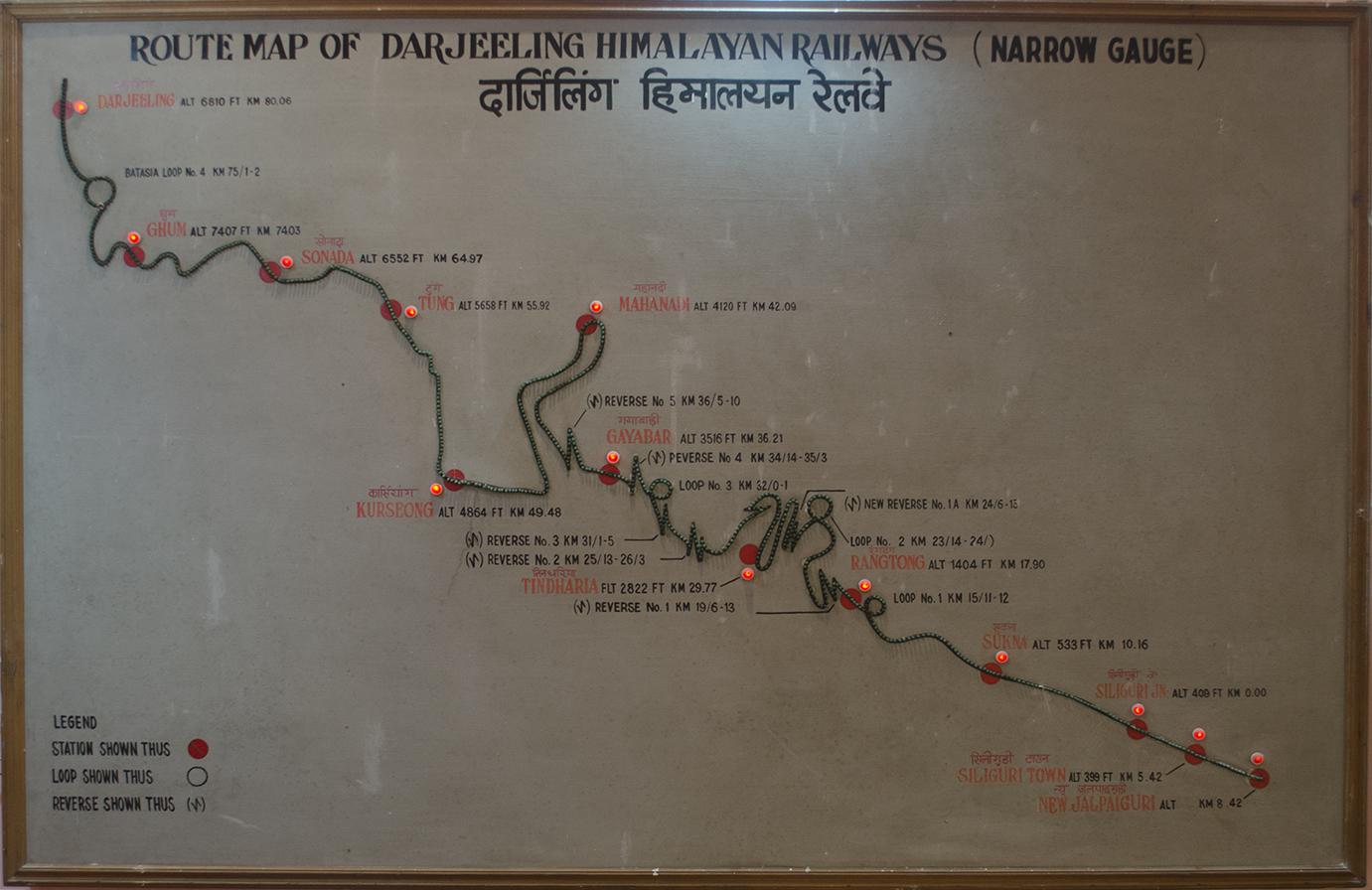 Map of Darjeeling Himalayan Railway (DHR) at the DHR Archive (Museum), Kurseong