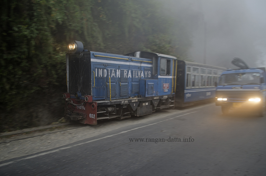 Darjeeling Himalayan Railway (DHR) Toy Train in front of Margaret's Deck