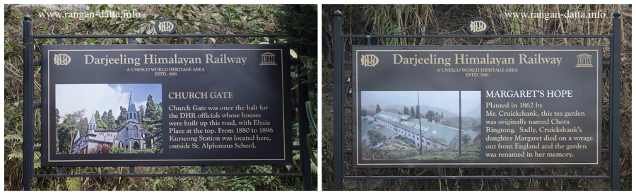DHR Signage. L: Church gate (old Kurseong Station). R: History of Margaret's Hope Tea Garden