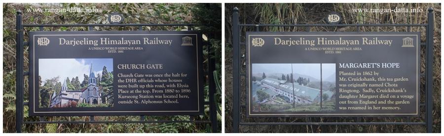 DHR Signage. L: Church gate (old Kurseong Station). R: History of Margaret's Hope Tea Garden