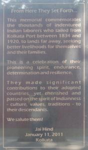 English Inscription, Kolkata Memorial
