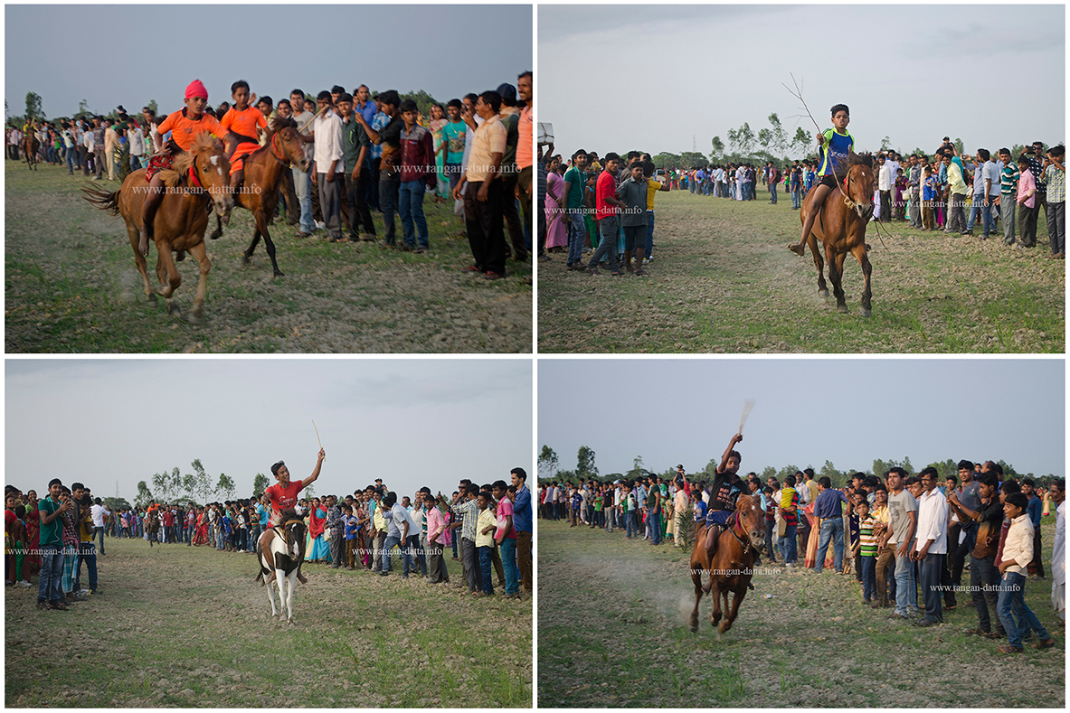 A collage of scenes form the Horse Race at Jatar Deul, Kankandighi, 24 Pargs (S)