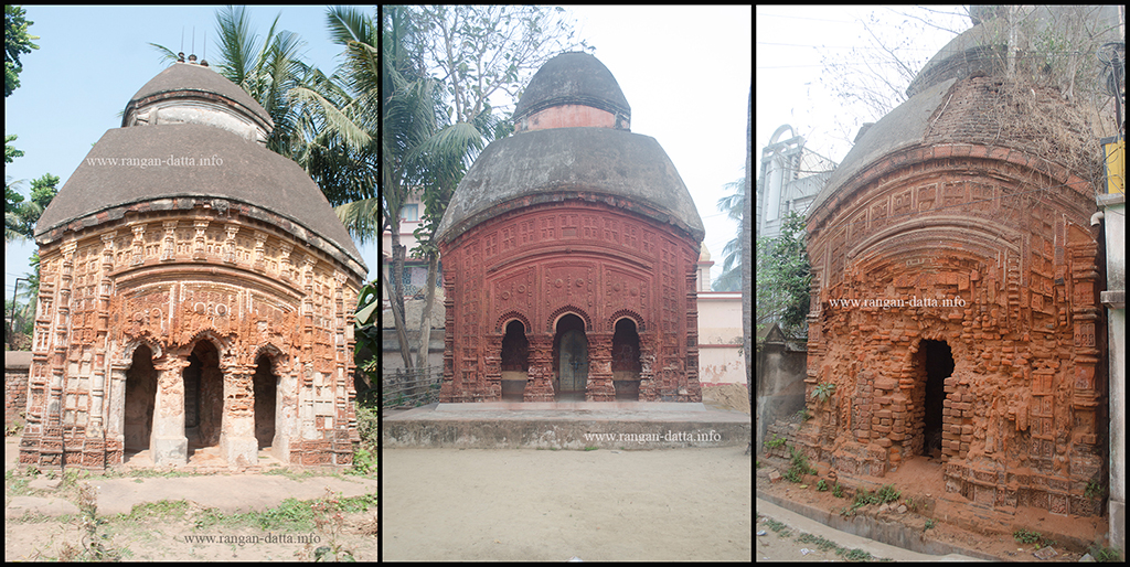Terracotta Temples of Amadpur. L: Banerjee C: Nath R: Nandi Family Temples