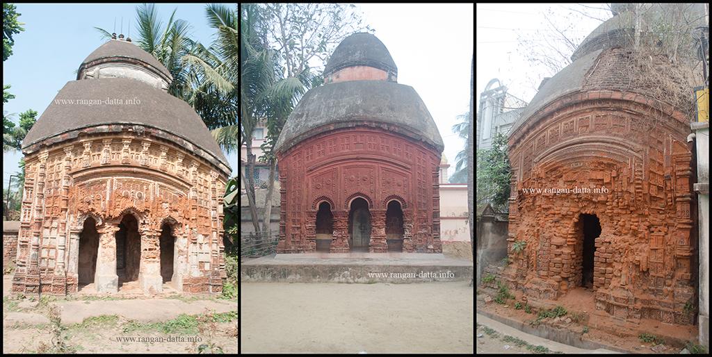 Terracotta Temples of Amadpur. L: Banerjee C: Nath R: Nandi Family Temples
