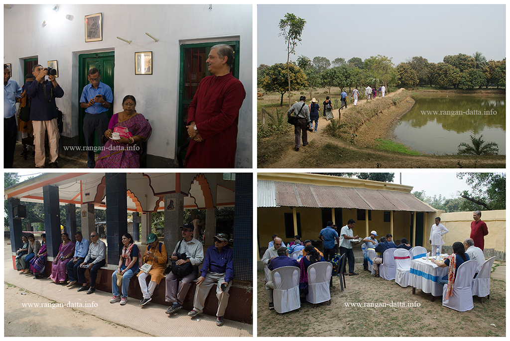 Amadpur Heritage Walk. Clockwise from top left: Shiladitya Chaudhuri briefing the participants, along village trail, a brief rest and finally the much awaited lunch