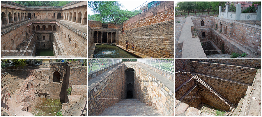 Baolis of Delhi. Top Left: Rajon ki Baoli, Top Centre: Gandhak ki Baoli, Top Right: Loharheri Baoli, Bottom Right: Hindu rao hospital Baoli, Bottom Centre: Purana Kella Baoli, Bottom Right: Tuglagabad Baoli
