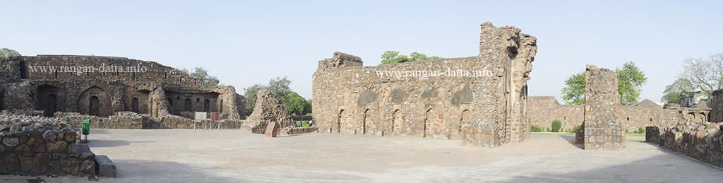 Panoramic view of the scattered ruins of Feroz Shah Kotla, Delhi