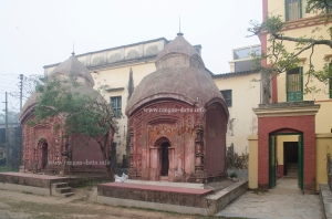Entrance of Baithakkhana Amadpur (right) with terracotta Temples