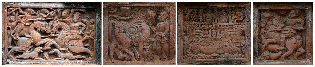 A collage of Terracotta Panels from Nandi Family Temple, Amadpur