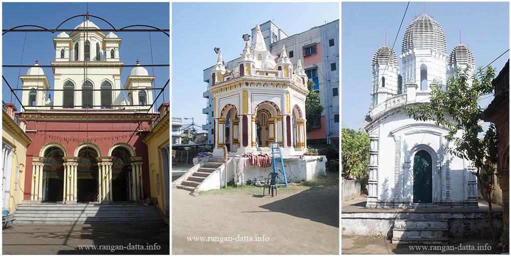 L:Kali Temple of Bamondas Mukhopadhay, C: Rasmancha, R: Pancha Ratna Temple