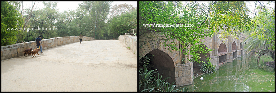 Athpula, Lodi Garden, Delhi. L: Upper portion of the bridge, R: Arches and piers of the bridge)
