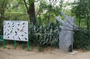 Board showing the bird in Lodi Garden and a modern art sculpture