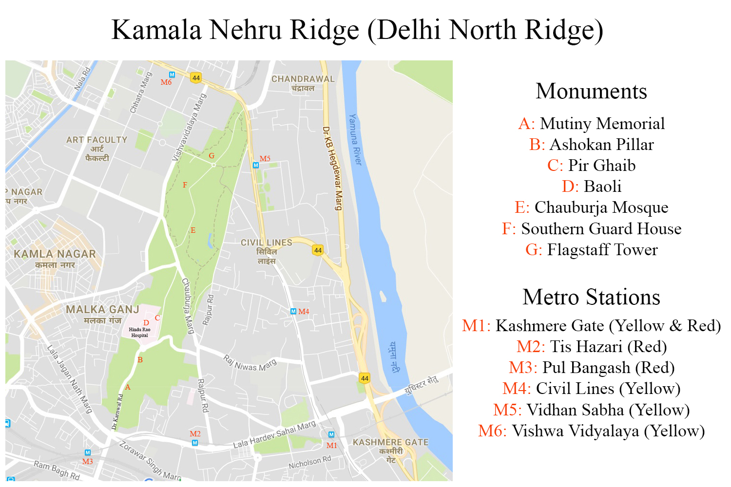 Kamala Nehru Ridge (Delhi Ridge) Map (click to enlarge)