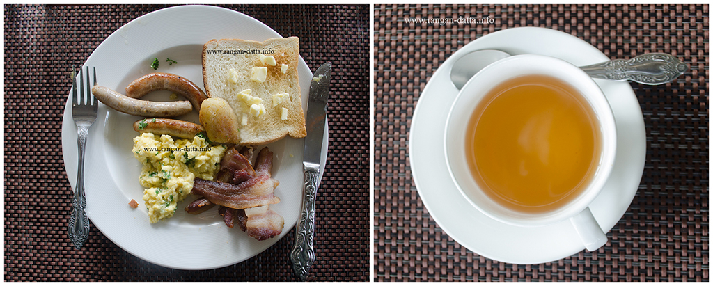 A typical continental breakfast with a cup of muscatel tea, Margaret's Deck, Kurseong