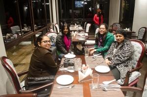 Fellow bloggers enjoying the music before dinner, Margaret's Deck, Kurseong