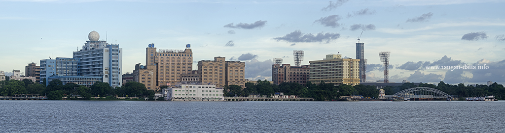 Kolkata Skyline from the Howraah River Front, with (L to R) New Secretariat, State Bank and Custom House and the Flotel Hotel (in front white colour)