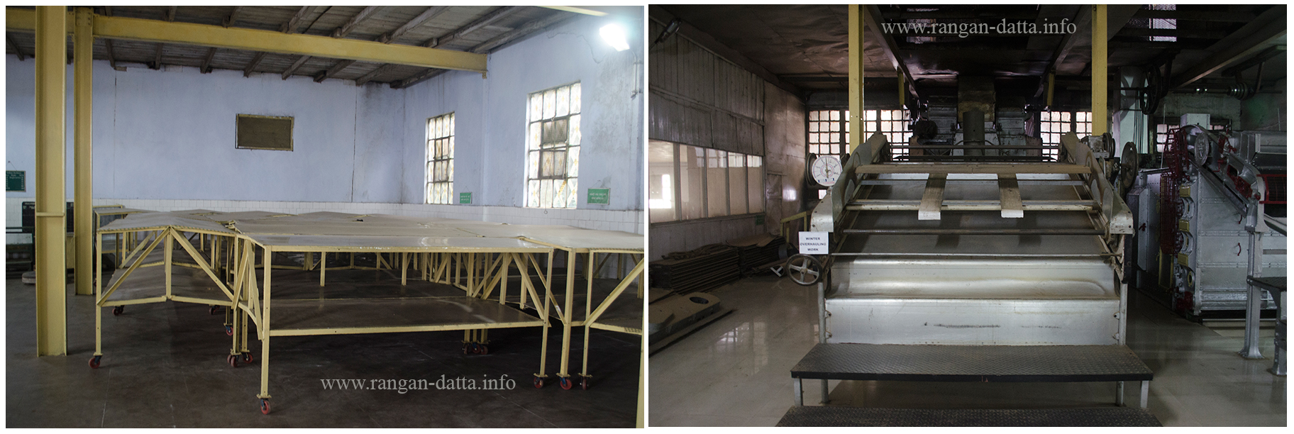 L: Oxidization Trays and R: Drying Machine,Margaret's Hope Tea Factory, Kurseong