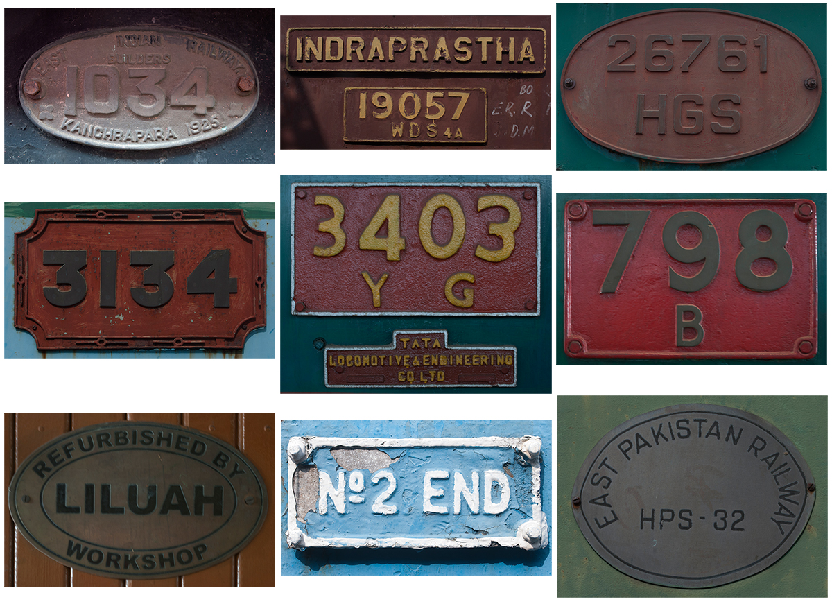 Collage of Locomotive Numbers and Manufacturers, Rail Museum, Howrah