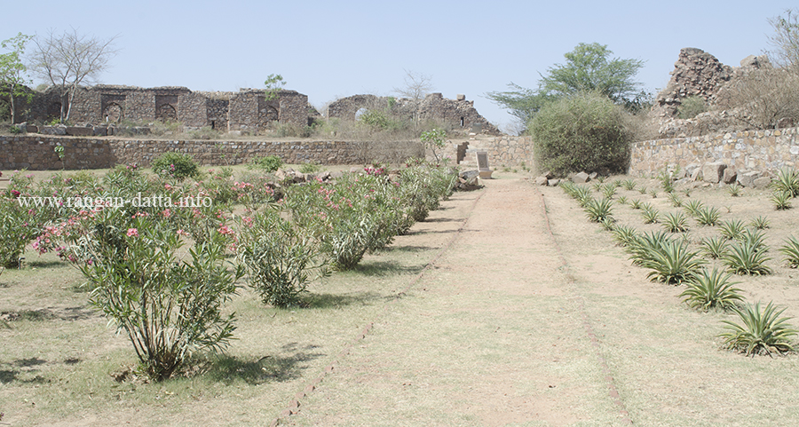 Tree lined walkways inside the Adilabad Fort, Delhi
