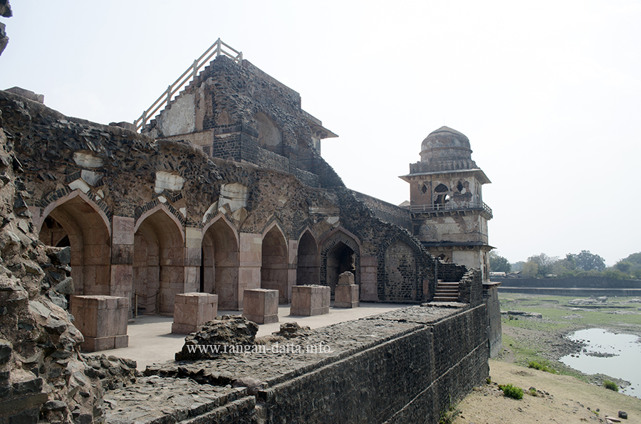 Ruined north western part of the Jahaz Mahal, with portions of the Munj Talao, Mandu