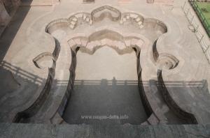 Bird's eye view of the lower pool, Jahaz Mahal, Mandu, Madhya Pradesh (MP)