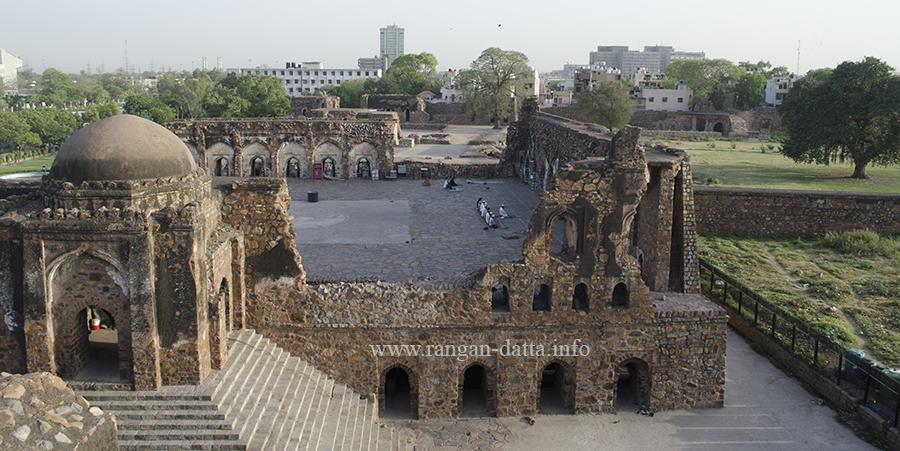 Grand view of the Jami Masjid, from Hawa Mahal, Feroz Shah Kotla or Ferozabad, Delhi