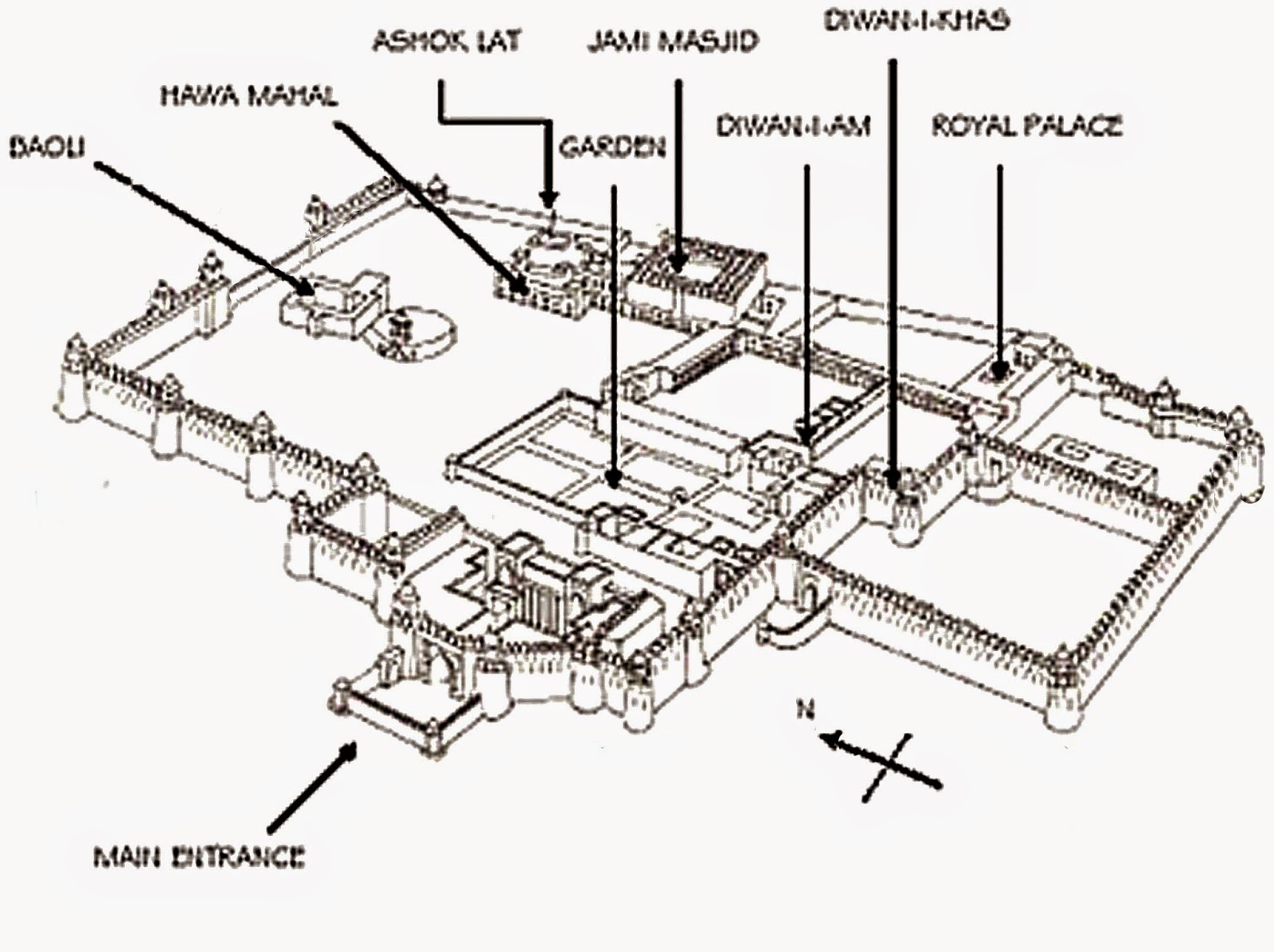 Plan of Feroz Shah Kotla or Ferozabad (Source: www.pixels-memories.blogspot.in)