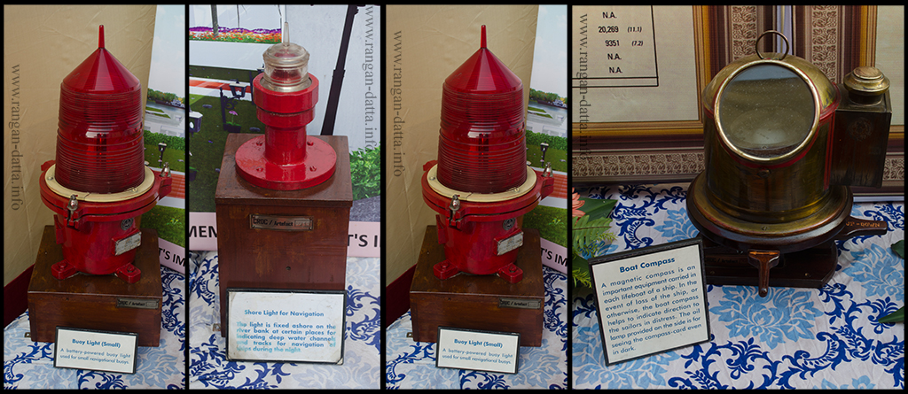 Mariners' equipment displayed at Suriname Ghat, L - R: Buoy Light, Shore Light, Emergency Light and Boat Compas