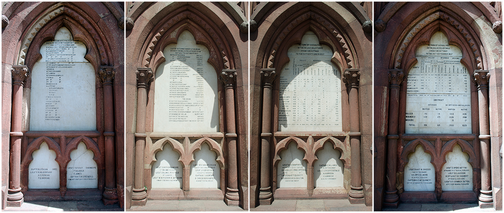 The remaining four plaques of Delhi's Mutiny Memorial